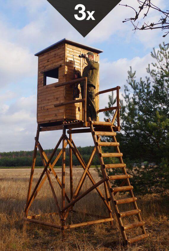 holz und raum hochsitzshop24 3 Stück Standardkanzel mit 3m Unterbau