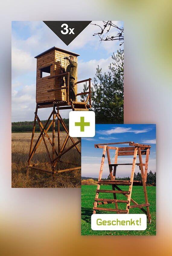 Angebot März Standard-Kanzel - kleine klappbarer Drueckjagd Leiter geschenkt!